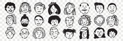 Hand drawn human faces doodle set. Collection of pen ink pencil drawing sketches of young old men women boys girls facial expressions on transparent background. Illustration different age generation.