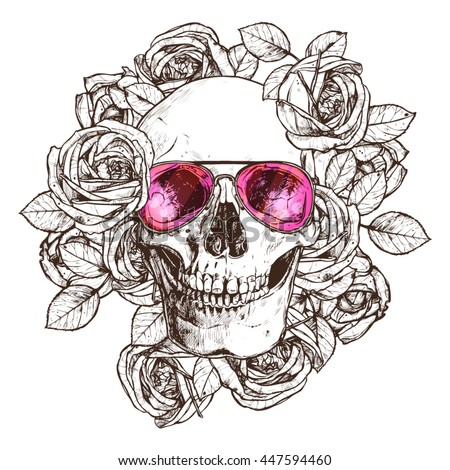 hand drawn human skull with