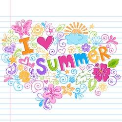 Hand-Drawn I Love Summer Tropical Lettering Sketchy Notebook Doodles Vector Illustration on Lined Sketchbook Paper Background