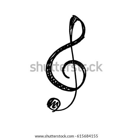 Hand drawn icon of treble clef. Sketch, vector illustration.