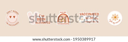 hand drawn icon or web button in bohemian colors with text I am vaccinated.  badge with text I got my coronavirus vaccine. label sticker with text I'm covid-19 vaccinated. vector illustration.