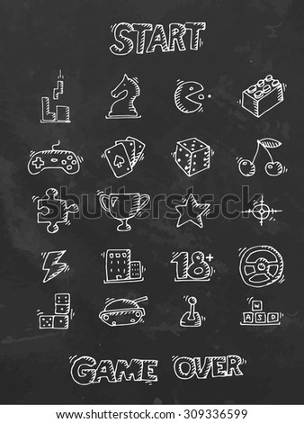hand drawn icon set game theme