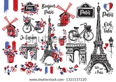 Hand drawn icon set with Paris symbols. Paris vintage style digital watercolor illustration collection. Travel France. Romantic vector illustration kit.