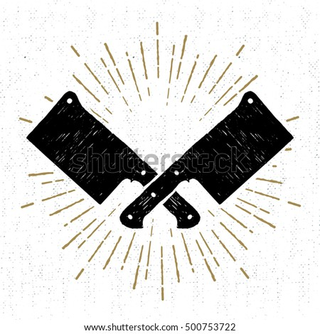 Hand drawn icon with textured cleaver knifes vector illustration. Stock photo ©