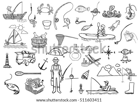 Shutterstock Hand drawn icons about fishing isolated on white background - Stock Vector