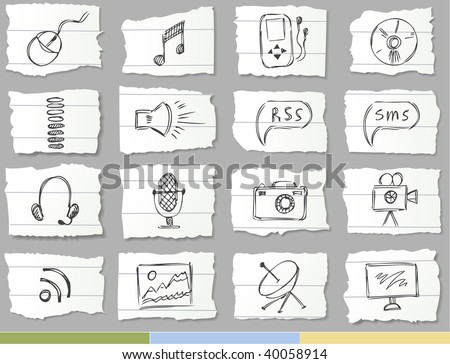Hand drawn icons on ripped paper (Media set)