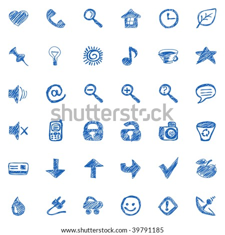 hand-drawn icons vector. Visit my portfolio for big collection of doodles - stock vector