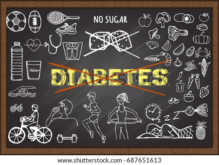 Hand drawn illustration about diabetes on chalkboard. Stock Vector