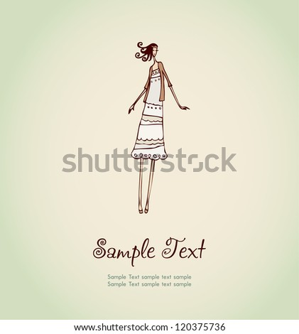 Hand drawn illustration and place for your text. Template with image of pretty girl with curly hair for design and decoration greeting cards, scrapbooking