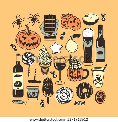 Hand drawn illustration candy, cookie, pumpkin, ice cream, cocktail. Creative ink art work. Actual vector drawing food and drink. Artistic isolated Halloween objects