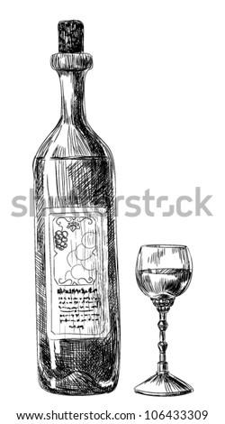 Hand-drawn illustration,  glass of wine and bottle