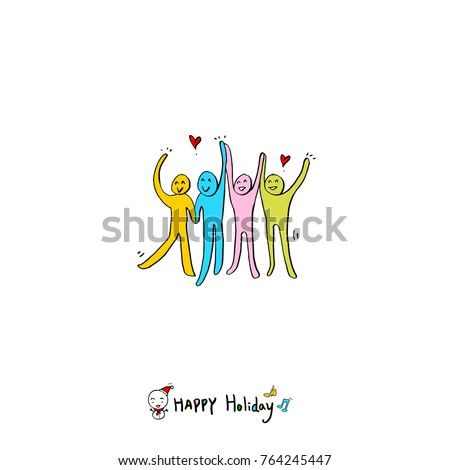 Hand drawn illustration / Happy Holiday - vector