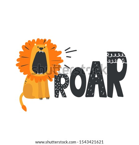 Hand drawn illustration, lion and english text. Colorful background vector. Poster design with animal, Roar. Decorative cute backdrop, good for printing Foto stock ©