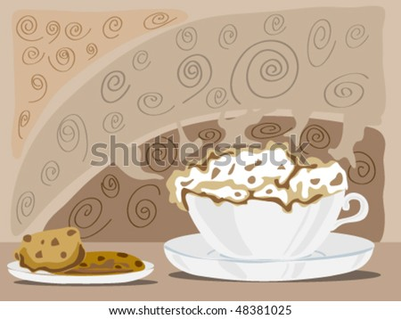 hand drawn illustration of a cup of cappuccino coffee and slices of cake on a brown patterned background - stock vector