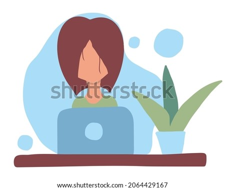 Hand-drawn illustration of a girl at a laptop. The girl works as a freelancer.