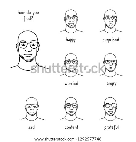 Hand drawn illustration of a man's face revealing various emotions and feelings, such as happiness, surprise, sadness, worry, anger, gratitude; black ink illustration