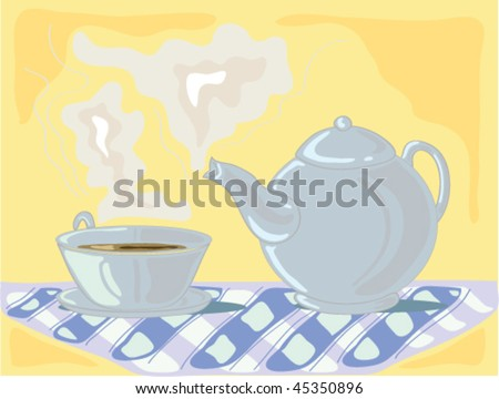 hand drawn illustration of a pale blue teapot and matching cup on a checkered blue cloth against a pale gold background