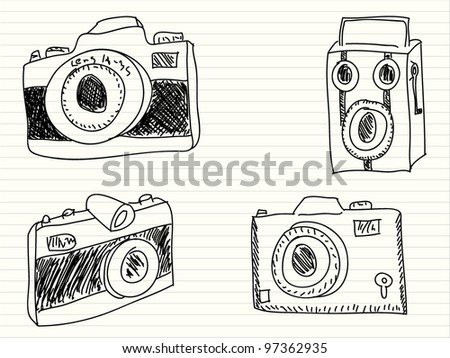 Hand drawn illustration of a photo cameras
