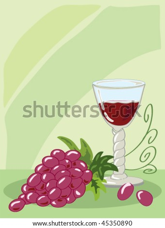 hand drawn illustration of a seventeenth century style barley twist glass of red wine with a bunch of grapes on green background