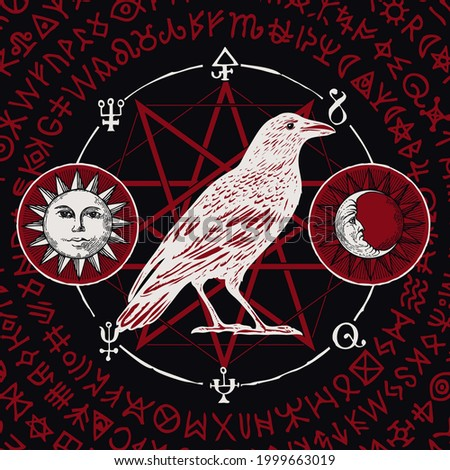 Hand-drawn illustration of a sorcery white Raven on a black background with sun, moon, red magic runes and occult symbols written in a circle. Vector witchcraft banner with an unusual white Crow