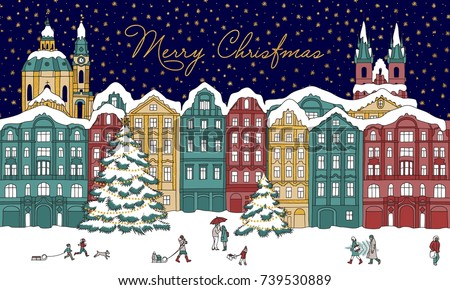 Hand drawn illustration of a winter city at night time, with small people, cathedral and Christmas trees; golden stars in the background