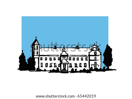 Hand drawn illustration of an old European castle