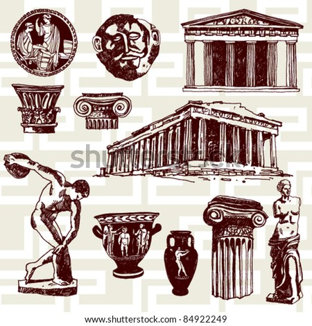 Hand Drawn Illustration of Ancient Greece Elements