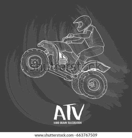 hand drawn illustration of atv