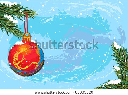 hand drawn illustration of beautiful christmas background, elements are grouped, easy to edit
