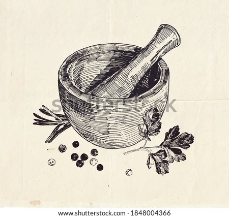 Hand drawn illustration of ceramic mortar and pestle with parsley leaves and black peppercorns Foto stock ©