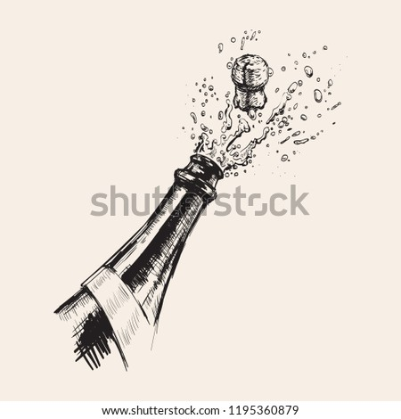 Hand drawn Illustration of Champagne explosion. Alcohol drink splash with bubbles.