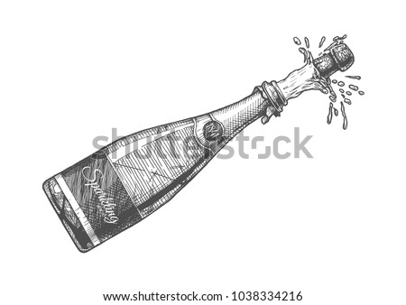Hand drawn Illustration of  Champagne explosion. Sparkling wine Isolated on white background in vintage engraved style.