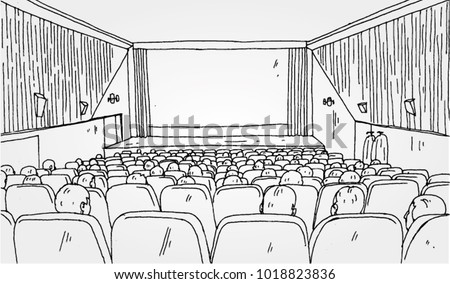 Hand Drawn Illustration of Cinema Hall