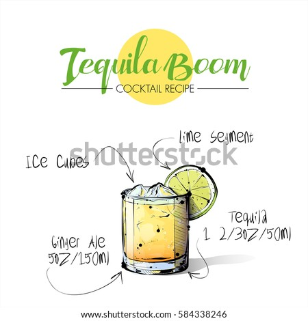 Hand drawn illustration of cocktail Tequila boom. Vector collection.