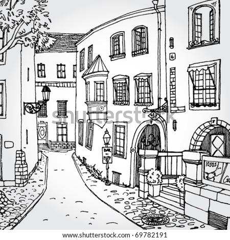 Hand Drawn Illustration of Cozy European Street