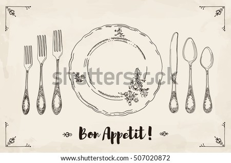 Hand drawn illustration of curly ornamental silver tableware, plate a beige watercolor background and texture. Table setting set. Hand drawn design element. Sketch, vintage. Vector Illustration.