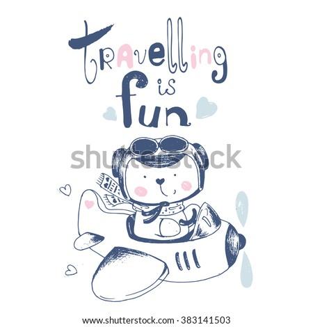 hand drawn illustration of cute