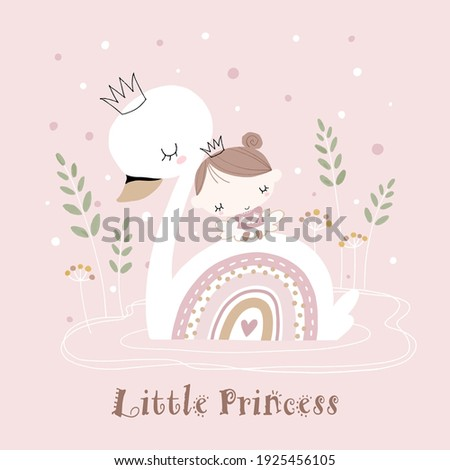 Hand drawn illustration of cute swan and little girl. Little princess on the back of white swan. For baby and kids room decoration, art print, baby shower invitation, etc.