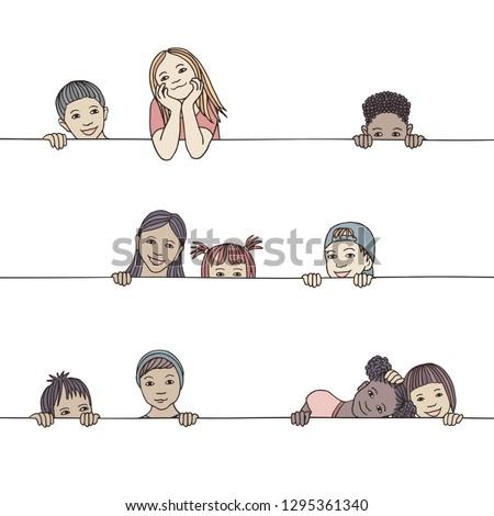 Hand drawn illustration of diverse children peeking behind a horizontal line