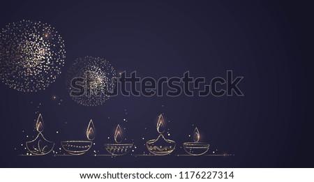 Hand Drawn Illustration of Diwali lamps with Golden Lights on Dark Blue Background. Vector Illustration