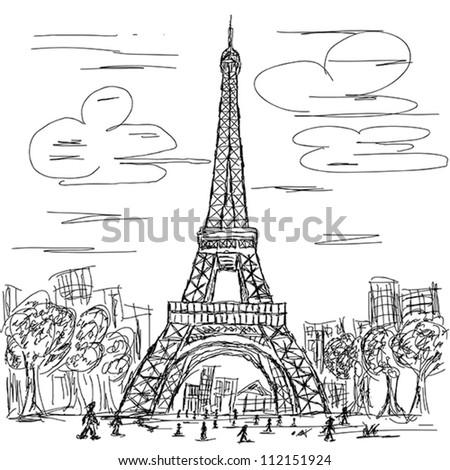hand drawn illustration of eifel tower, Paris France tourist destination.