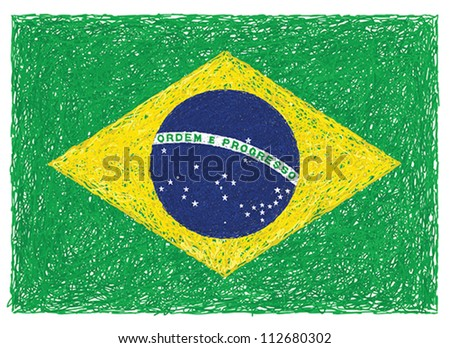 hand drawn illustration of flag of Brazil