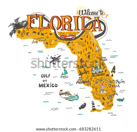 Florida Attractions Map.Free Florida Map Illustration Download Free Vector Art Stock