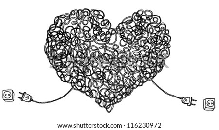 Hand Drawn Illustration of Heart Made of Wires