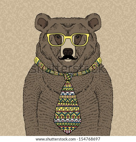Hand drawn Illustration of Hipster Bear in Tie and Glasses  with Mustache