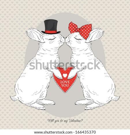 Hand Drawn Illustration Of Kissing Bunnies, Valentine Day , Love
