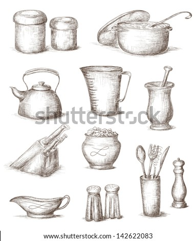 Hand Drawn Illustration Of Kitchen Utensils - 142622083 : Shutterstock
