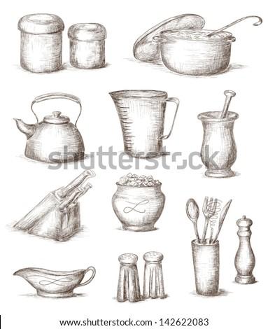 Hand Drawn Illustration Of Kitchen Utensils - 142622083 : Shutterstock