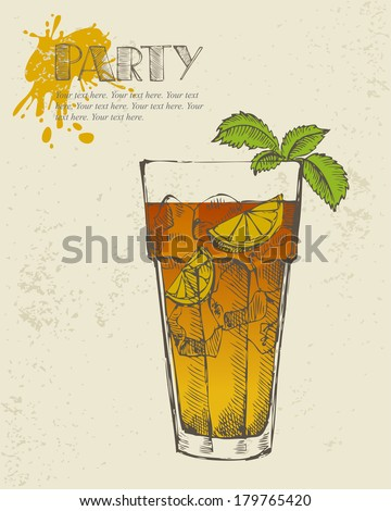 Hand drawn illustration of Long island iced tea cocktail