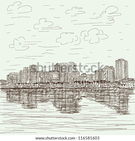 hand-drawn illustration of manila bay philippines cityscape.